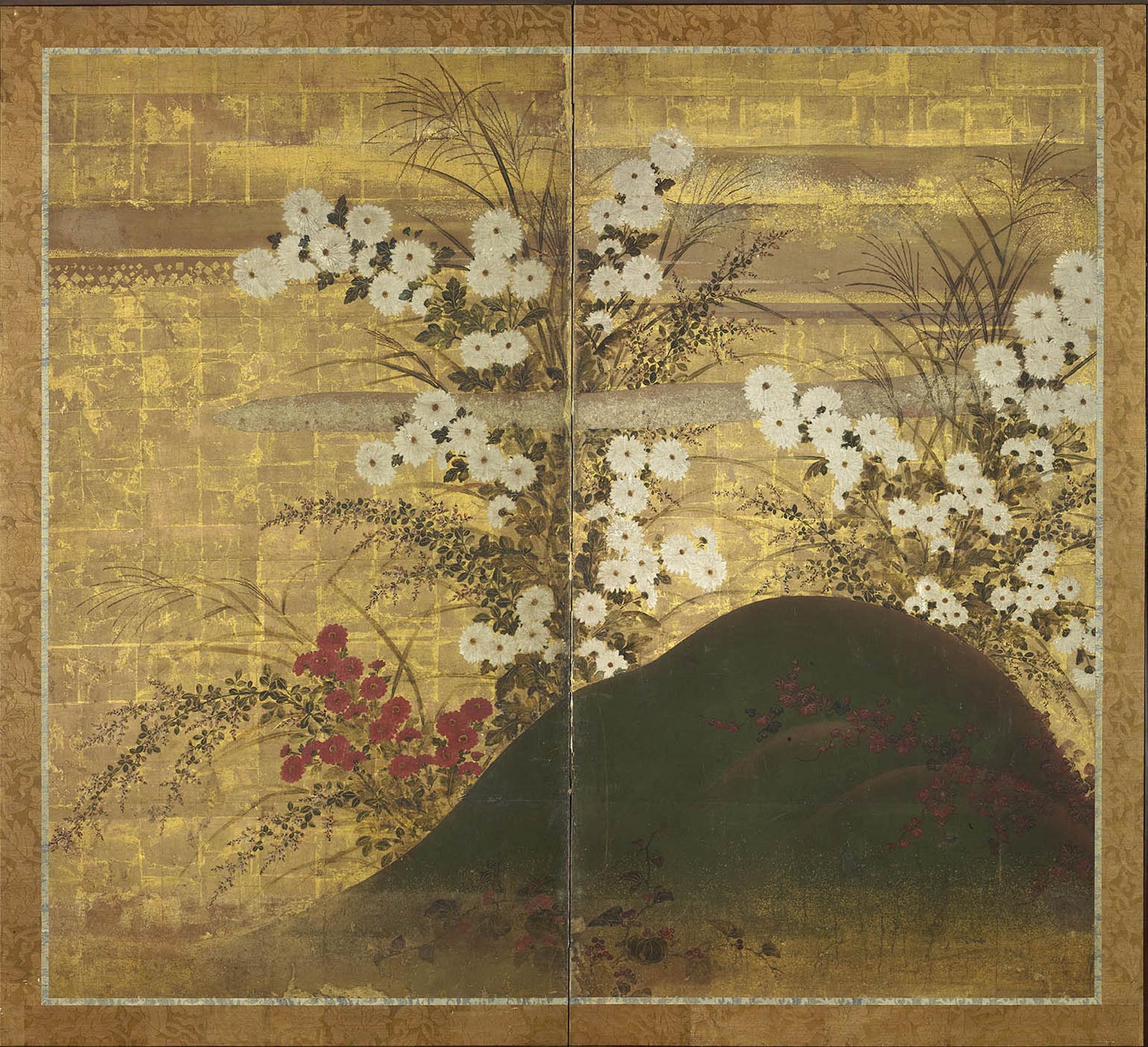 Gregg Baker Gallery / TWO FOLD JAPANESE PAPER SCREEN / Edo Period / 17th Century