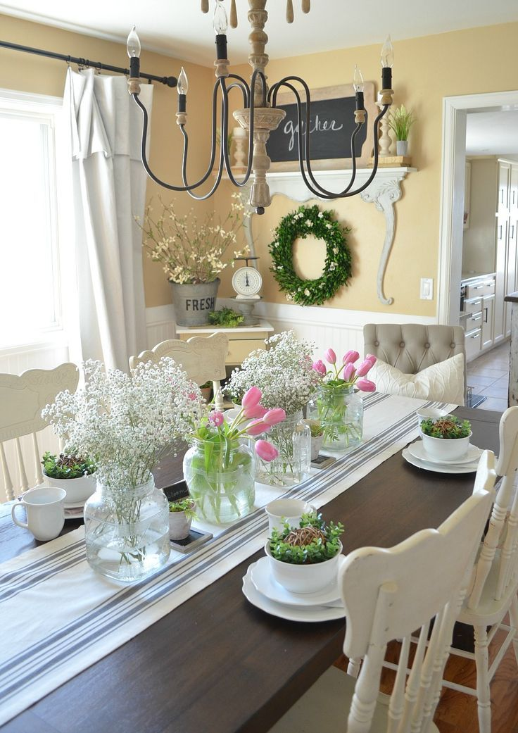 simple farmhouse spring tablescape beautiful home decor. Black Bedroom Furniture Sets. Home Design Ideas
