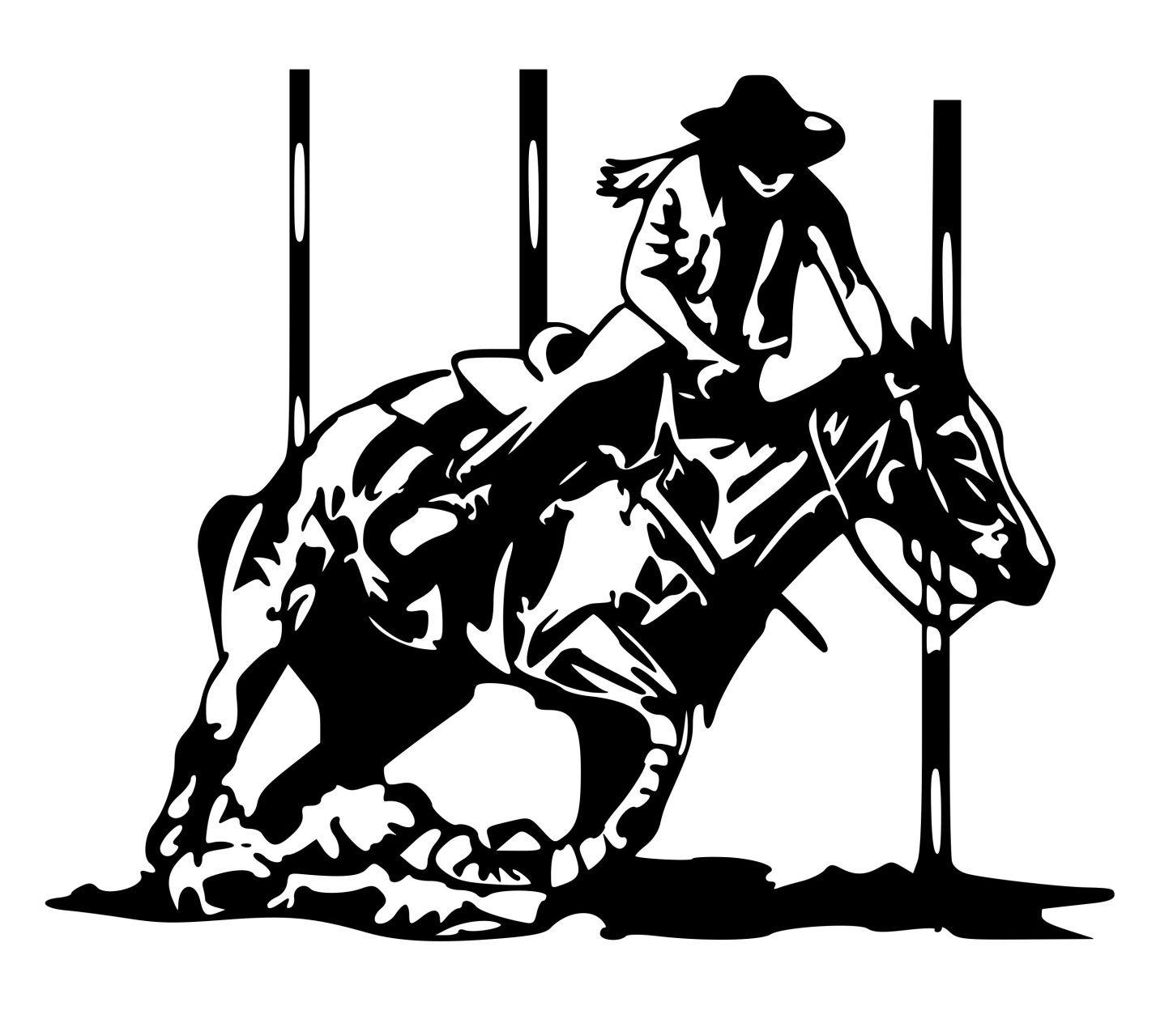 Saddle Bronc Rodeo Rider Cowboy Western Vinyl Decal Free Shipping 002