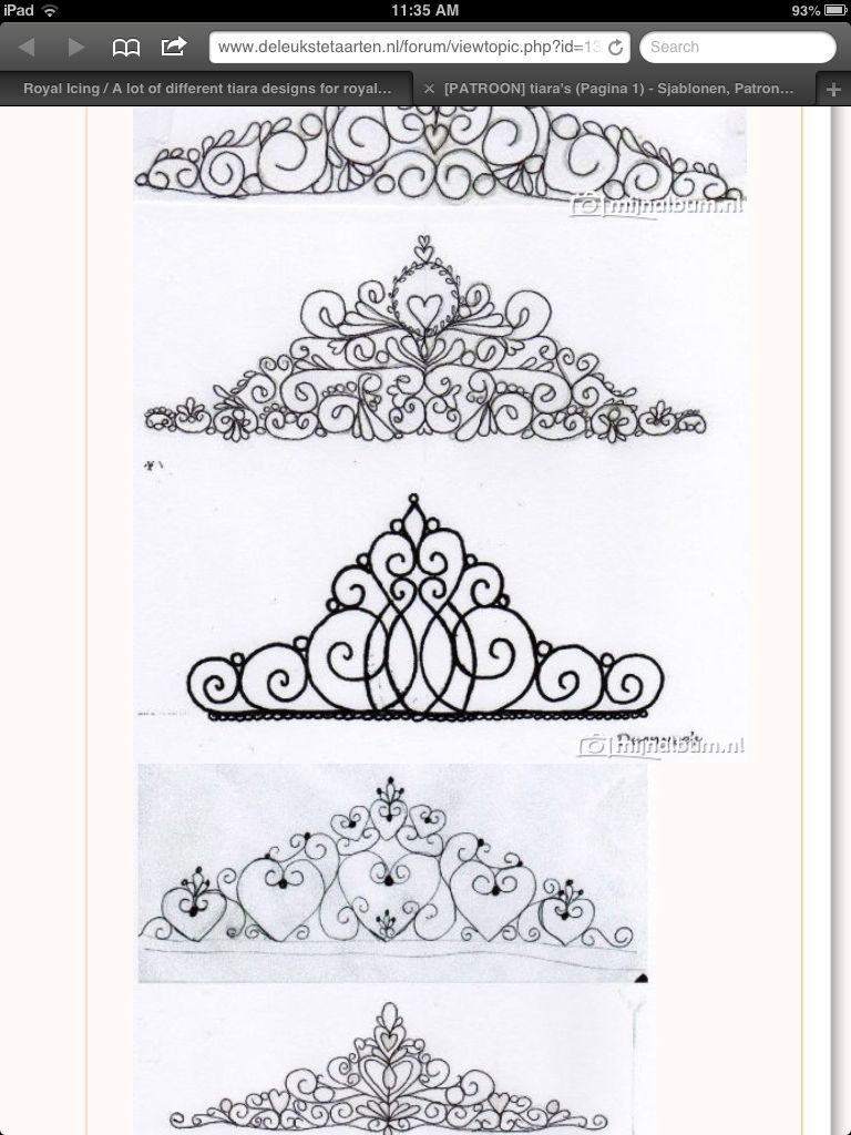 Tiara piping pattern 2 | Sketches/templates for cake | Pinterest ...