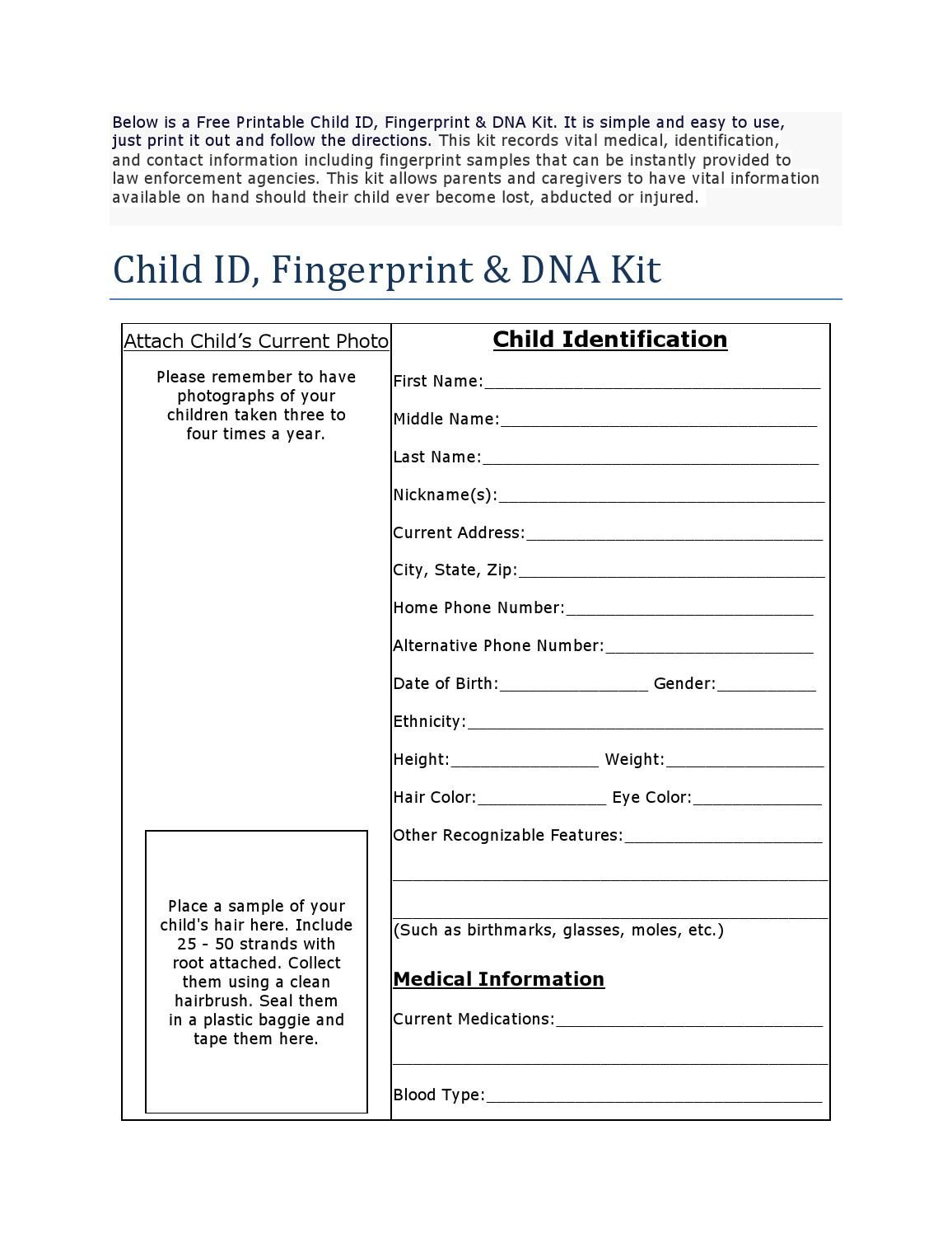 free printable child id card