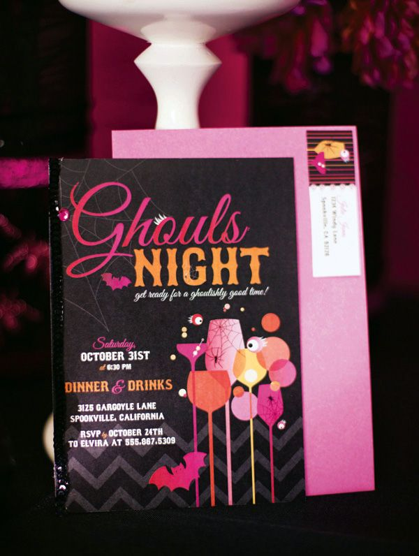 ghouls night pink orange halloween cocktail party hostess with the - Halloween Night Party