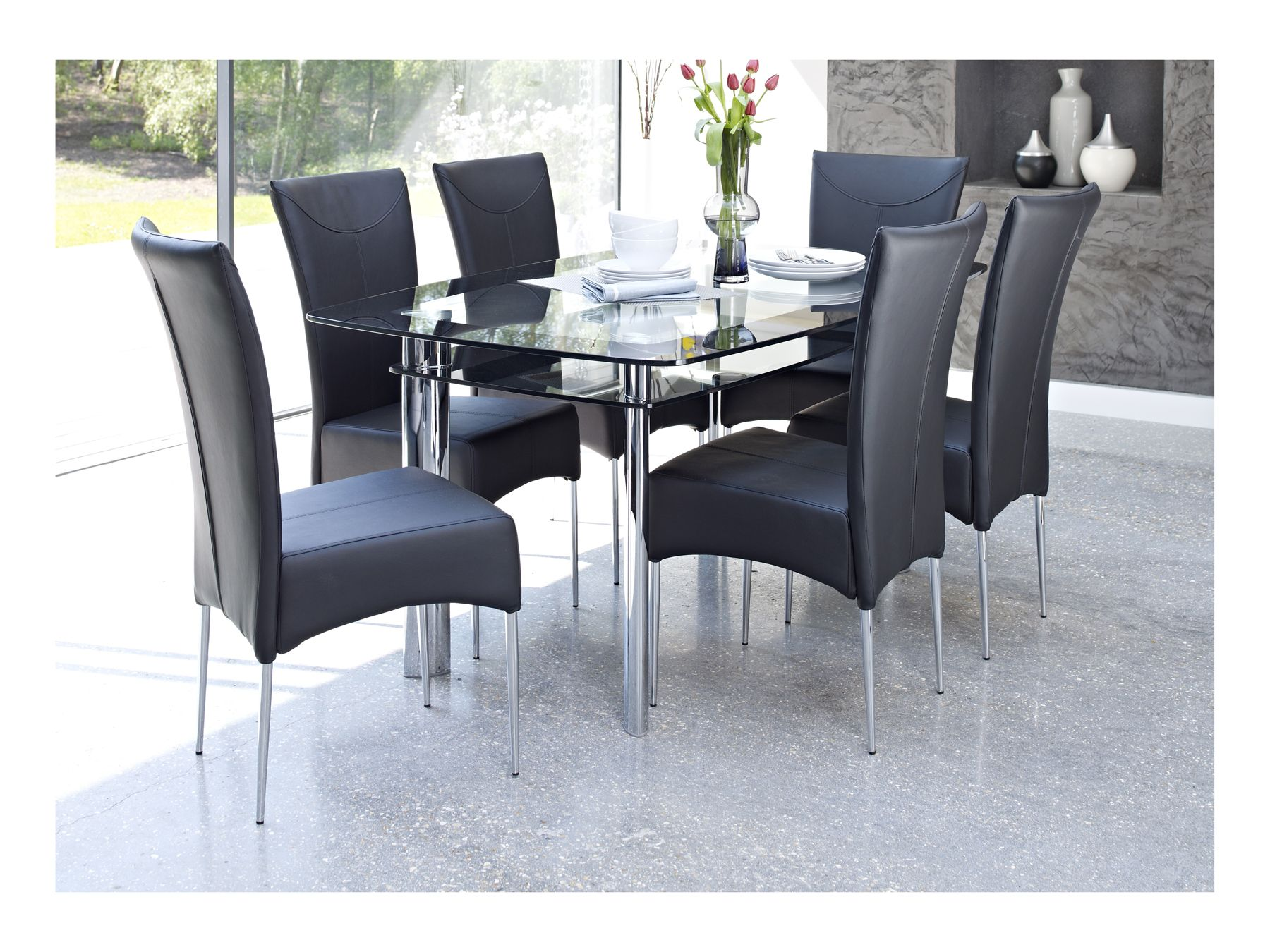 Glass dining table with black chairs whatever for Glass dining room table set