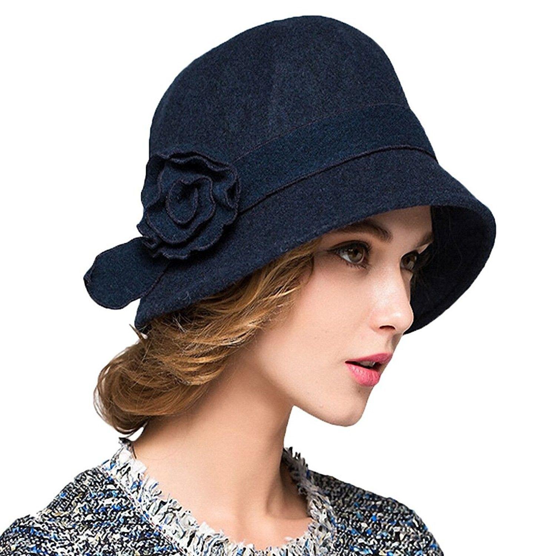 Women s Wool Felt Flowers Church Bowler Hats - Blue - C41293EZQB3 - Hats    Caps 1fe3390654f6