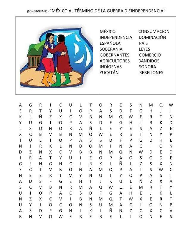 Independencia De Mexico Sopa De Letras Google Search Crafts