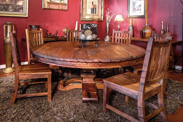 Mesquite Wood Round Dining Table With Rope Edge 72 In Custom Wood