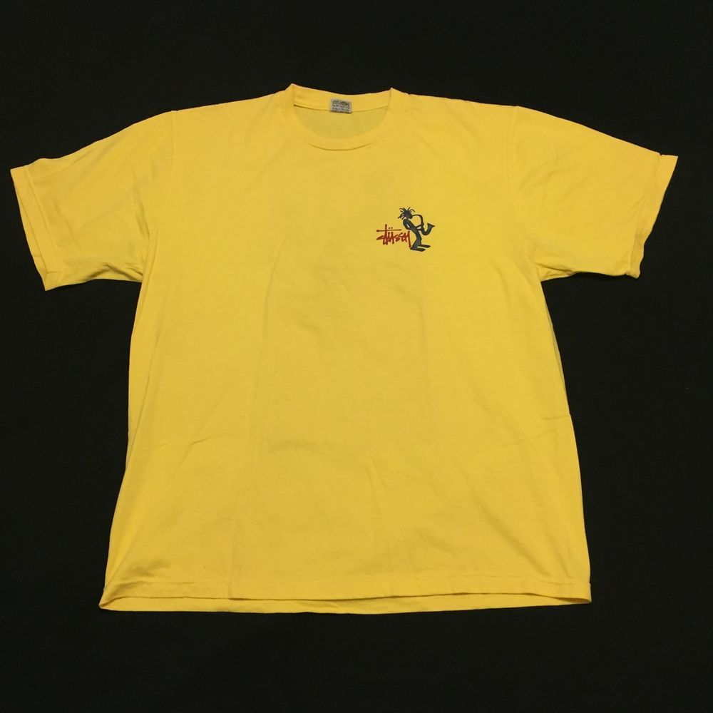 Stussy Saxophone Reggae Dreadlocks Vintage Streetwear Surf Yellow T Shirt Large Ebay