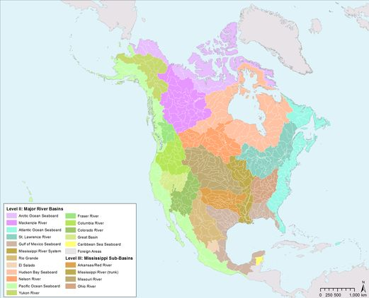 Atlantic Watershed Of North America Maps Pinterest - Colorful map of watersheds in us