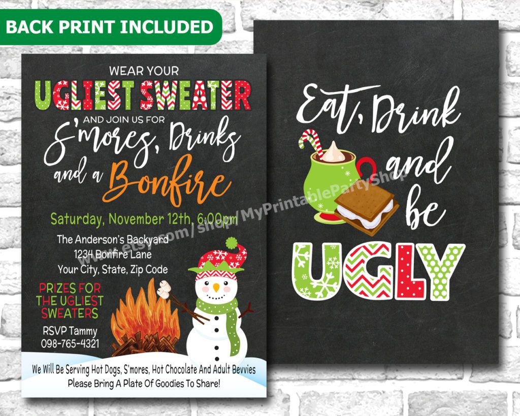 Create Easy Ugly Sweater Party Invitations Templates | Invitstiond ...