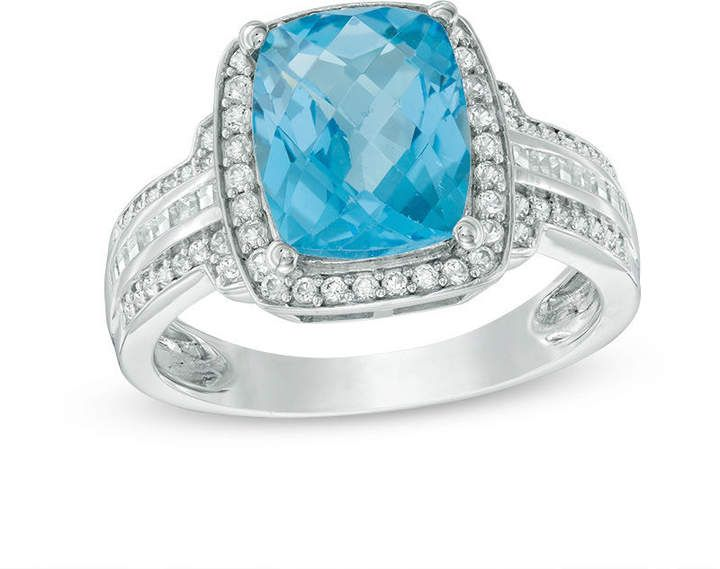 Zales Emerald-Cut Blue and White Topaz Oval-Shaped Open Frame Ring in Sterling Silver 8xy0dLQX5I
