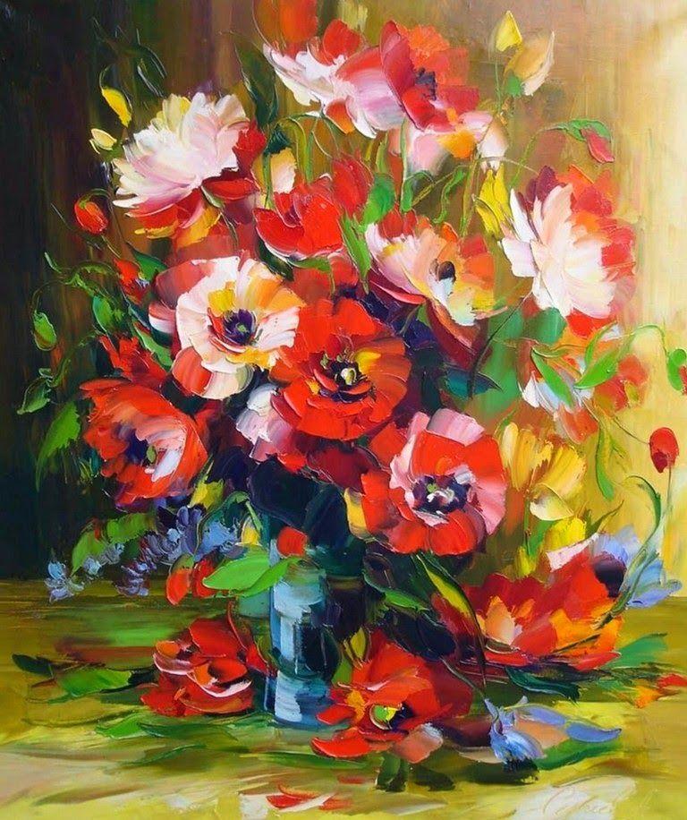 Pinturas Modernas De Flores Oleo Y Espatula Jpg 768 916 Pinturas Modernas De Flores Como Pintar En Oleo Pinturas