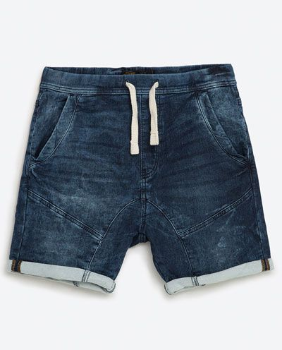 DRAWSTRING DENIM BERMUDA SHORTS-SHORTS-MAN  909846b99962