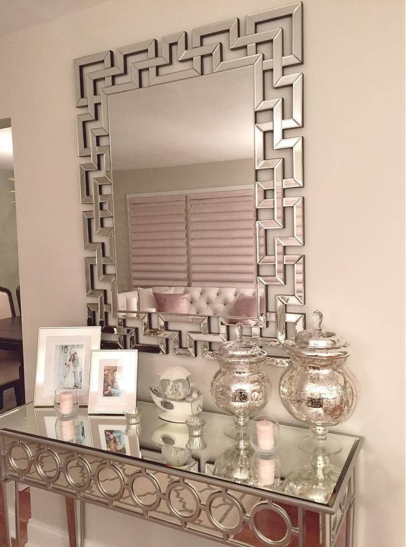 Mirrored Art Deco Table For The Entryway Along With Some Additional Beautiful Decor