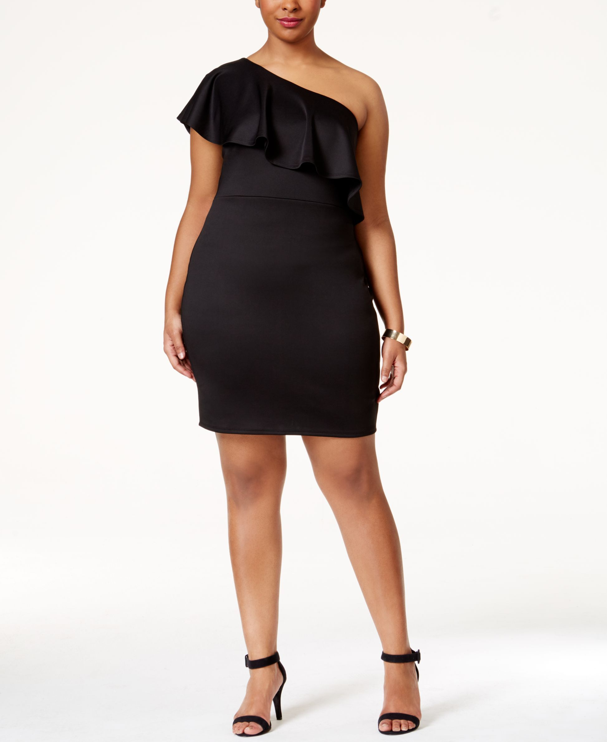 Soprano Plus Size Ruffled One-Shoulder Dress | SS17 | Pinterest