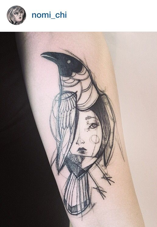 Kristenmakestattoos I Really Like The Muted Colors: Les Tatouages Ressemblant à Des Dessins Au Crayon De Naomi