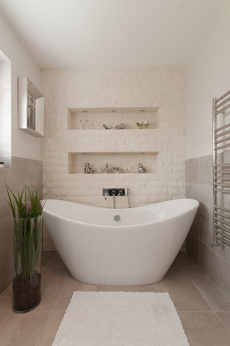 Small Bathroom With Stone Wall Containing Gray Tile Flooring With - Bright bath towels for small bathroom ideas