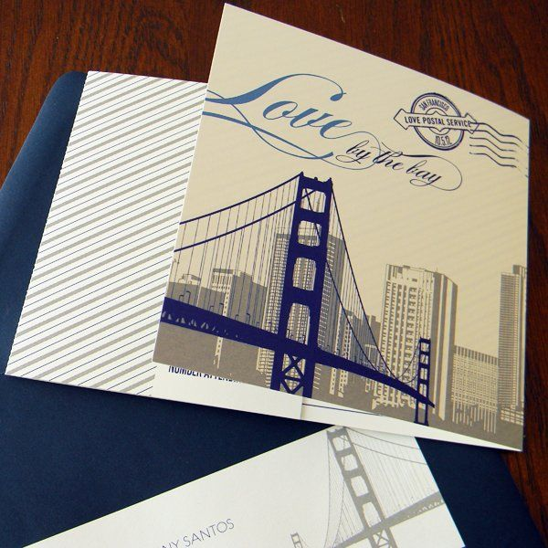Wedding invitations envelopes wedding planning and wedding san francisco themed folded invitation navy and gray inks with navy envelope stopboris Choice Image