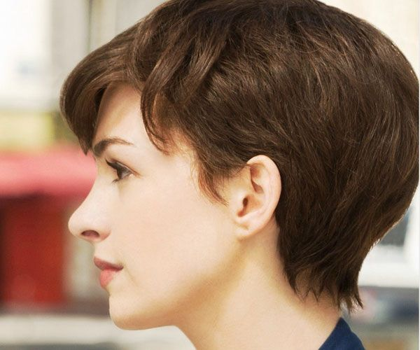 Anne Hathaway Short Hairstyles: Short and Brown with Huge Side-swept Fringe - Google Search