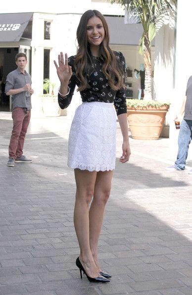 Nina Dobrev Mini Skirt | Nina dobrev, Lace skirt and Mini skirts