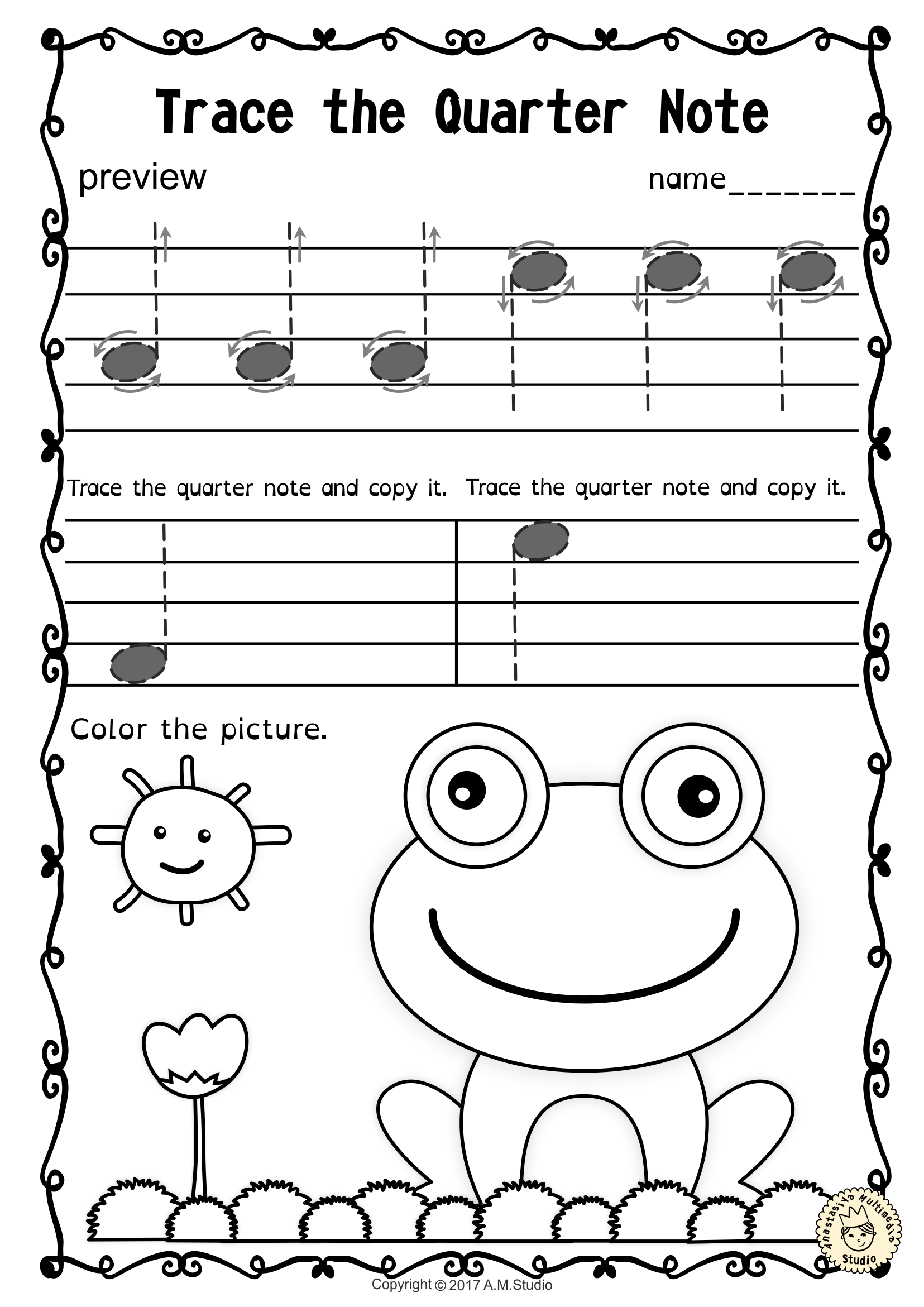 small resolution of A set of 20 spring themed music worksheets is created to help your students  learn to trace