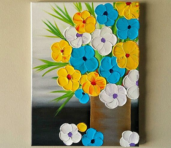 Original Acrylic Flower Vase Painting Flowers In Vase Painting