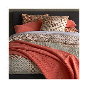 Sereno Coral Hand-Blocked Bed Linens