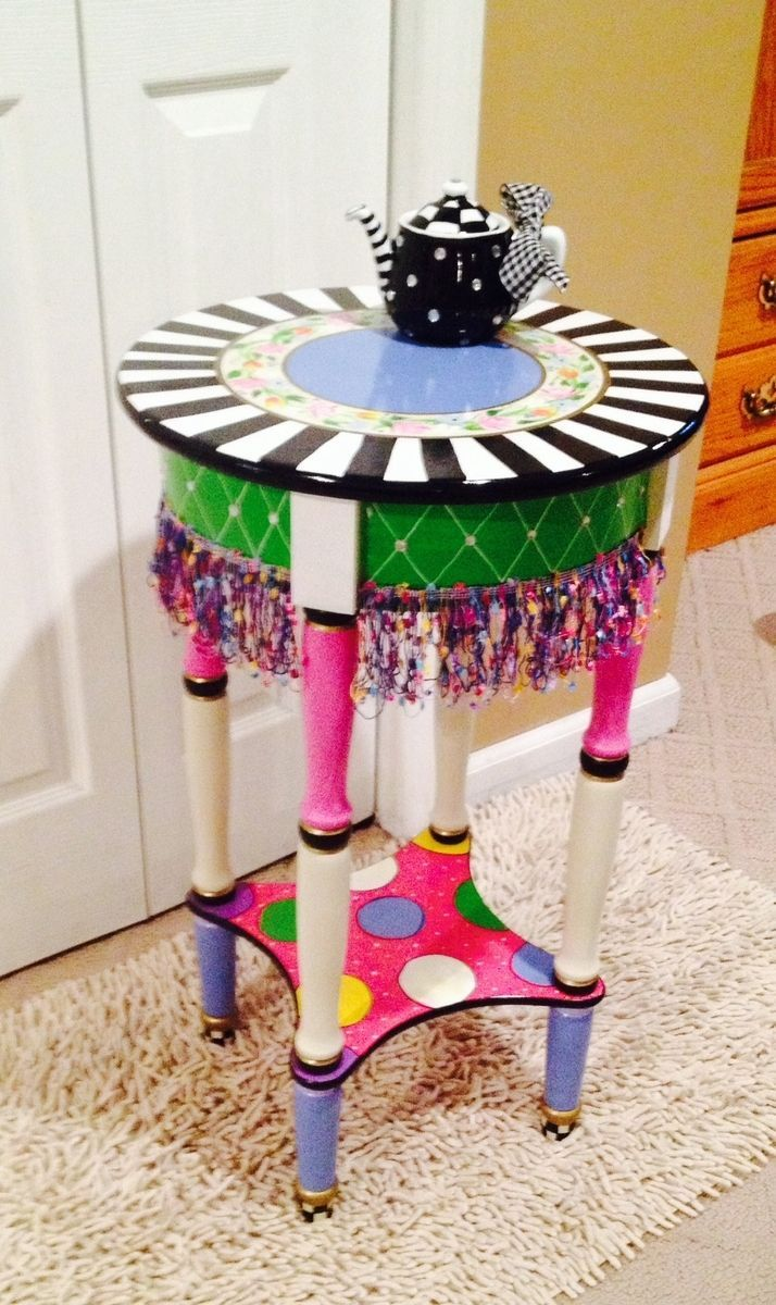 Genial Custom Made Hand Painted Round Side Accent Table Custom Design//Painted  Table//Whimsical Painted Furniture