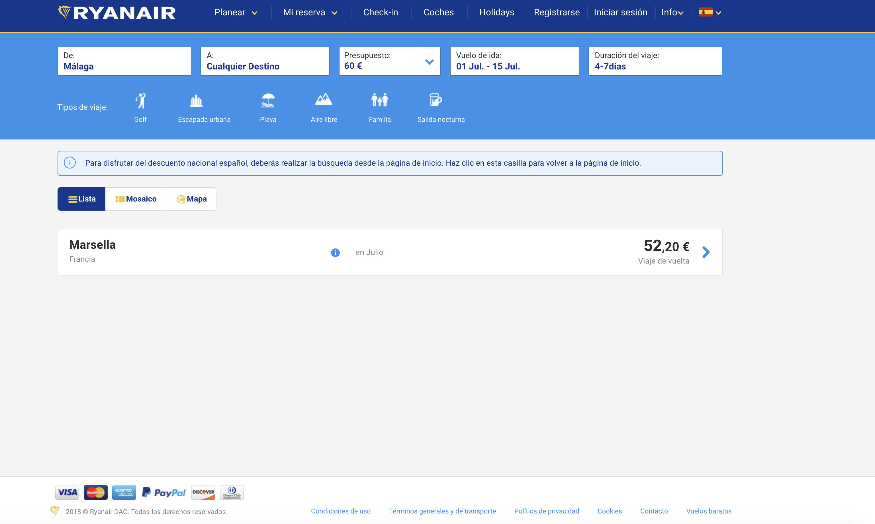 Buscador de vuelos baratos Ryanair