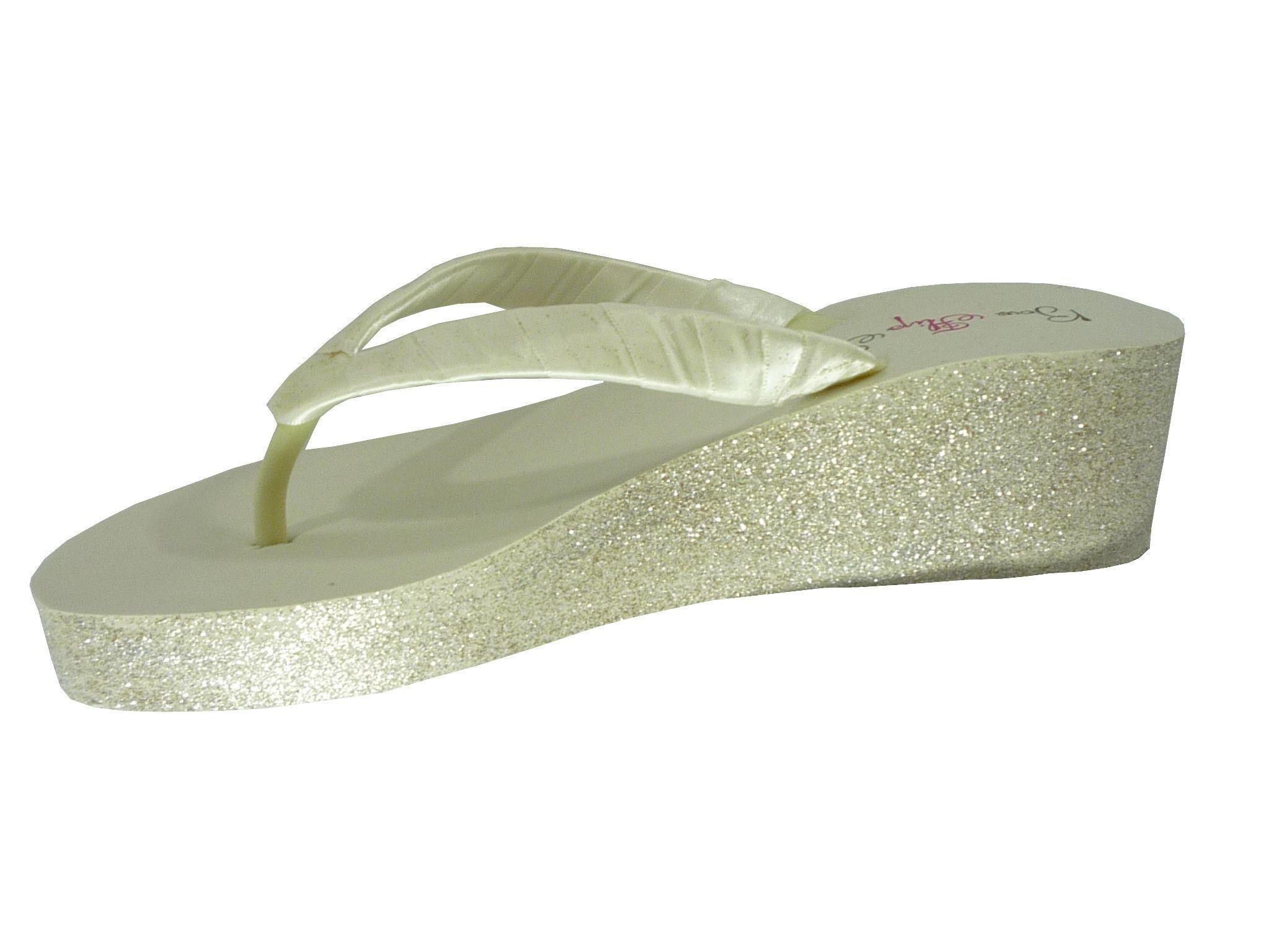 52319dad9a16 Bridal Glitter Flip Flops