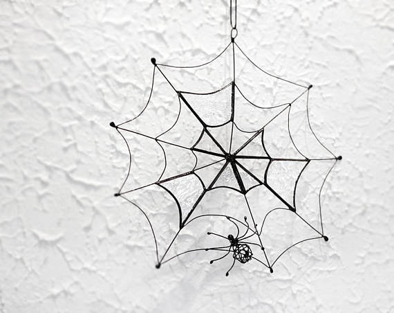 Spooky home decor, Halloween decoration, stained glass spider web - spider web halloween decoration