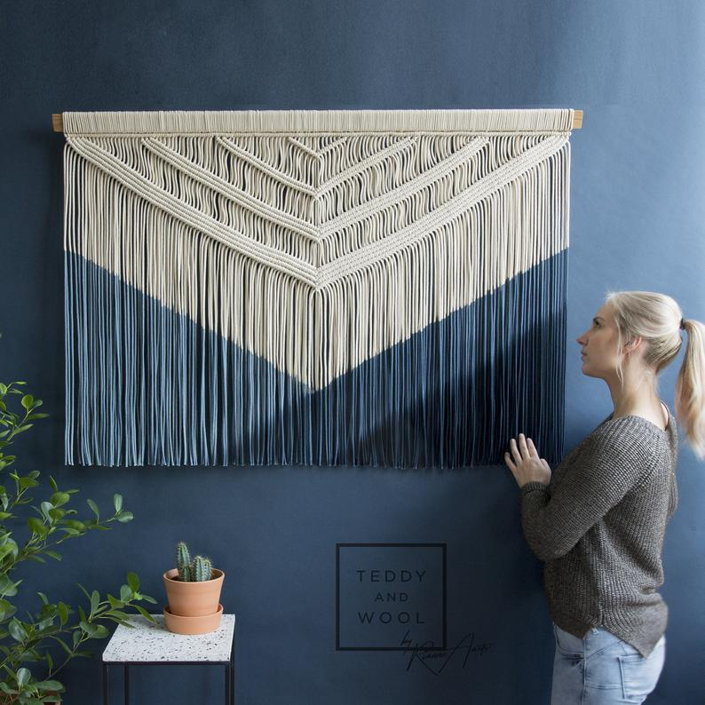 Macrame Wall Tapestry Wall Hanging Dyed In A Blue Gradient Color Blocking Jaclyn In 2020 Tapestry Tapestry Wall Hanging Hanging Wall Decor