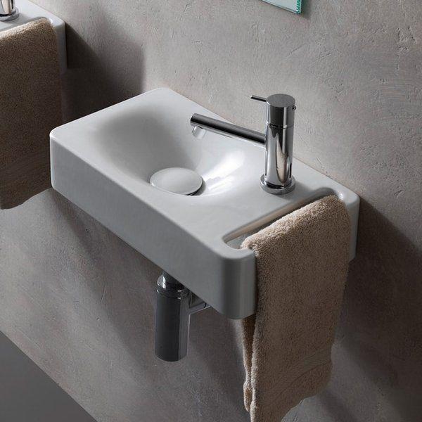 Hung Ceramic 16 Wall Mount Bathroom Sink Small Bathroom Sinks Wall Mounted Bathroom Sinks Sink