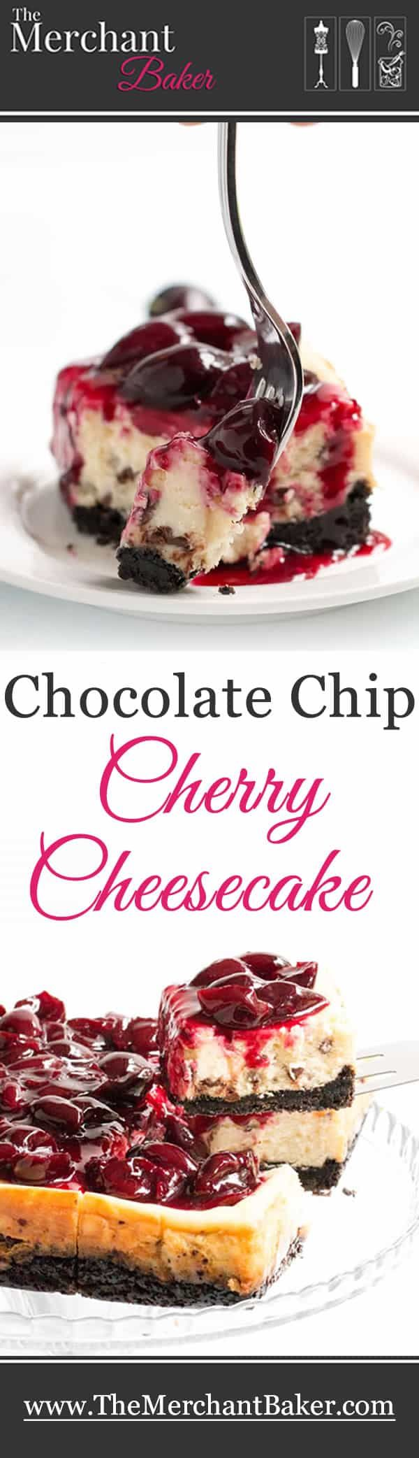 Chocolate Chip Cherry Cheesecake Chocolate Chip Cherry Cheesecake. A fresh sweet cherry sauce tops this easy to make cheesecake. A super fudgy cookie crust takes it over the top!