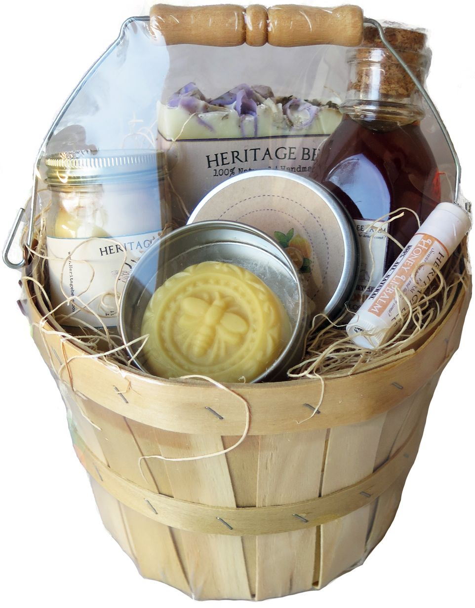Deluxe honey and hive gift basket raw honey beeswax