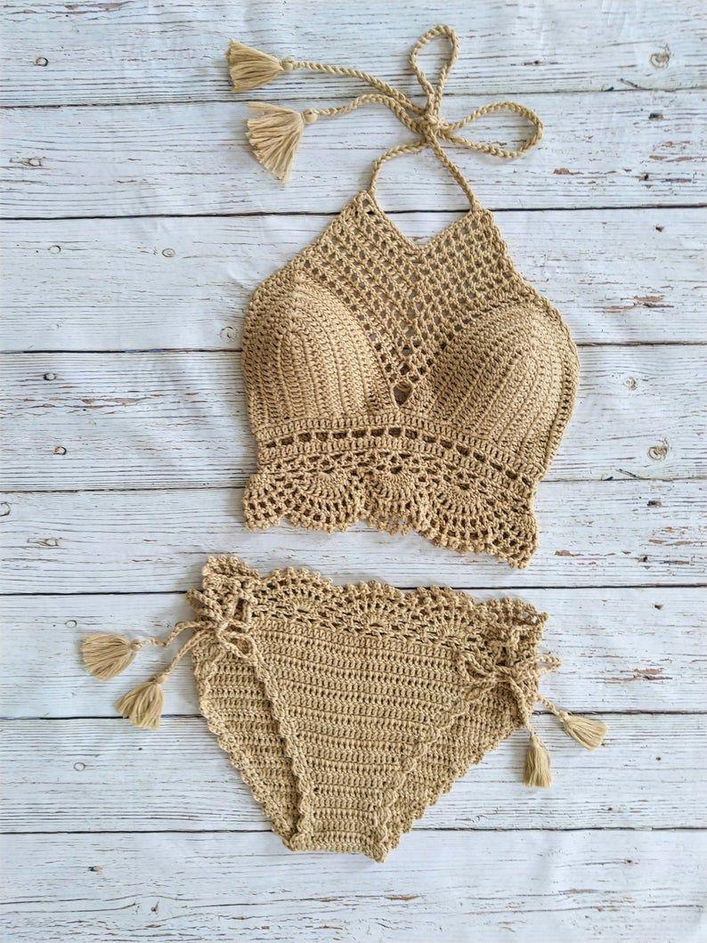 Bikini fatto a mano alluncinetto, morbido filato di cotone, crochet bikini, 2019 bikini spiaggia, uncinetto costumi da bagno, donne bikini set, regali per lei