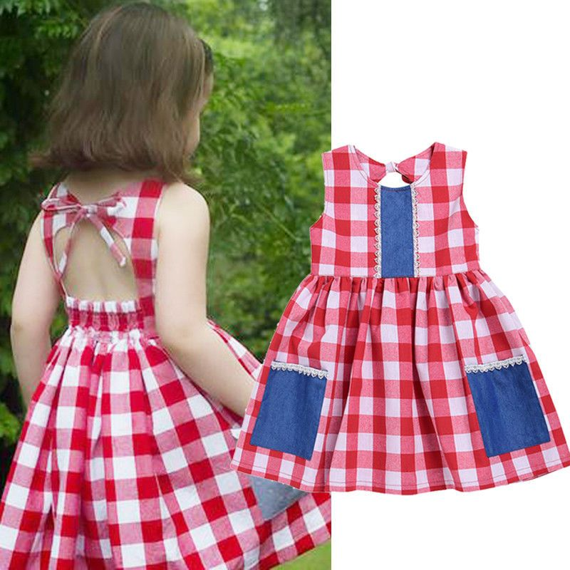 37aba36a08d  6.55 - Toddler Baby Kids Girls Casual Dress Plaid Checked Pocket Vintage Dresses  1-6T  ebay  Fashion