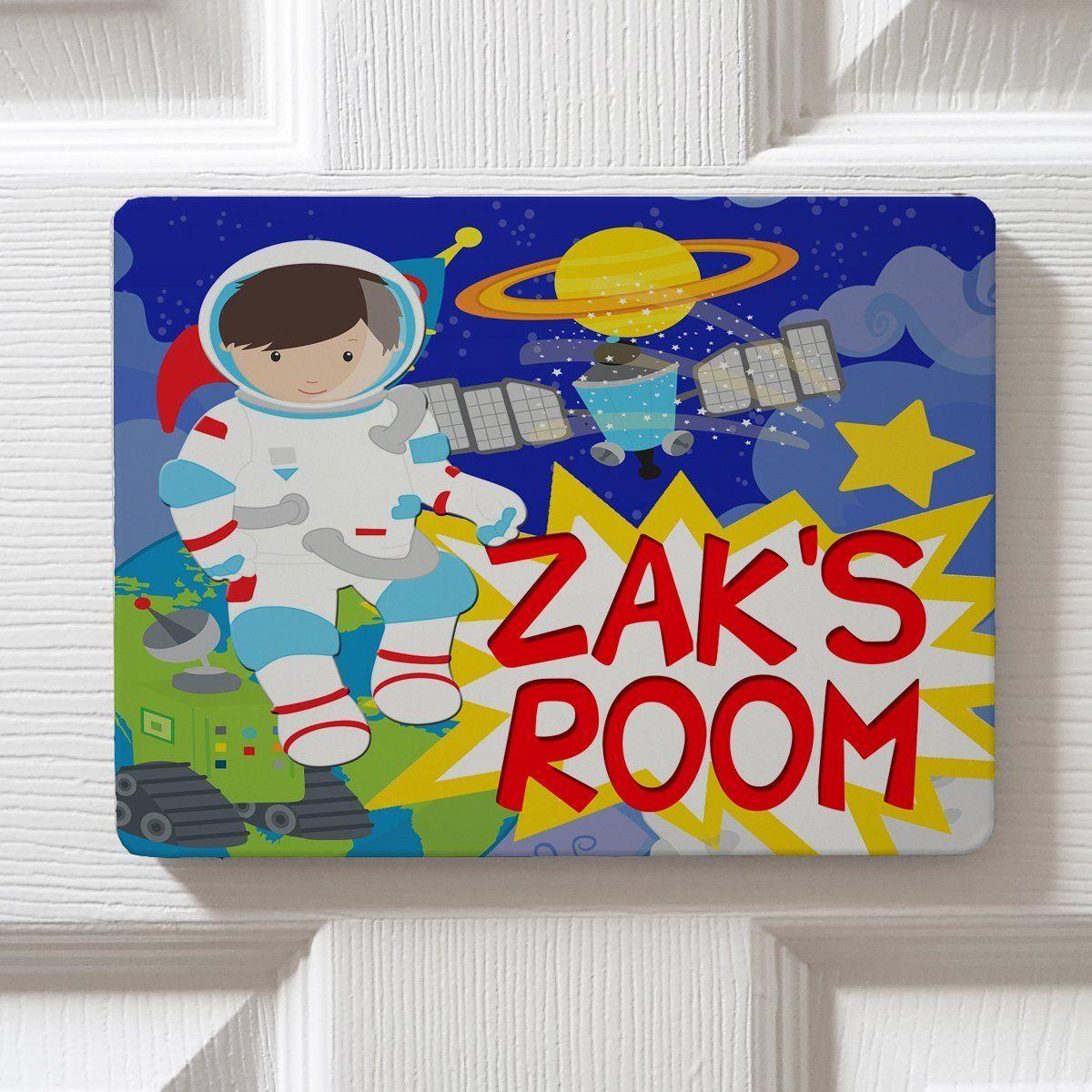 Personalised Space Man Astranaut Dpe35 Children's Bedroom Childs Door Kids Plaque Girls Boys Name Sign
