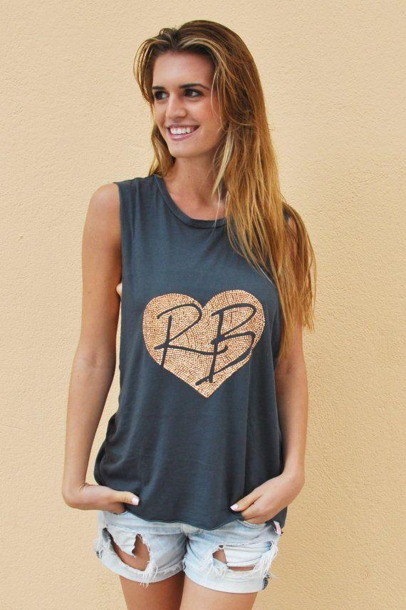 4fc89203 Womens Muscle Tank. Muscle Tee. Cute Muscle Tank. Rhinestone Heart. Womens  Muscle