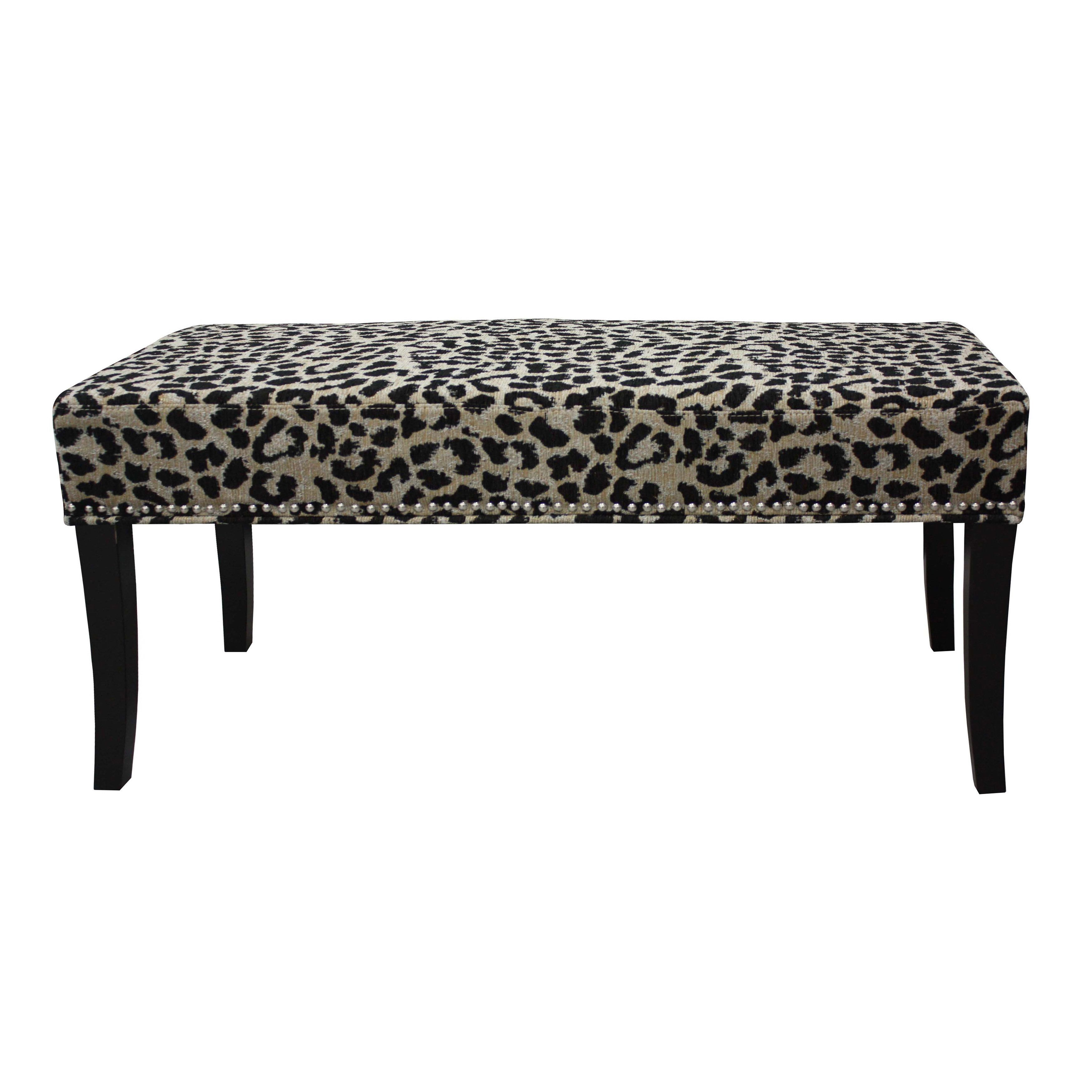 Hd Couture Black And Taupe Cheetah Chenille 40 Inch Bench Black