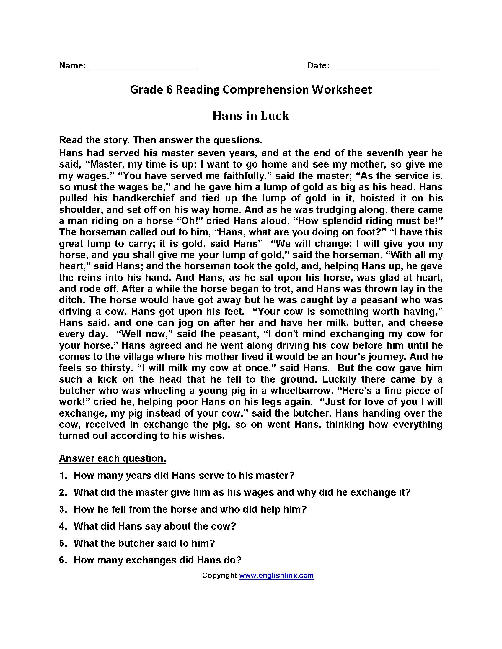 Free Printable Reading Worksheets For Grade 6 In