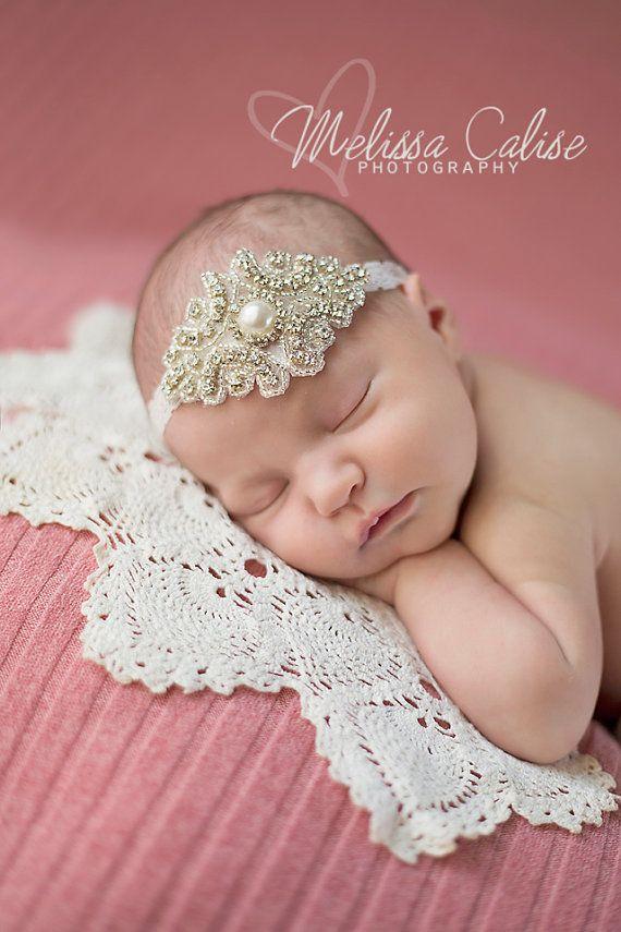 Pearl Lace BOHO White Newborn Halo Flower Bead Bohemian Jewel Baby Crown Baptism Christening Headband Tieback Toddler Neutral Natural Prop