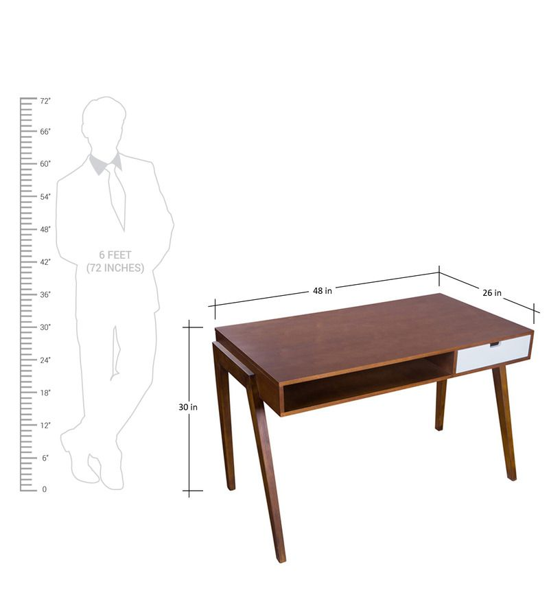 buy study desk in brown colour by looking good furniture online
