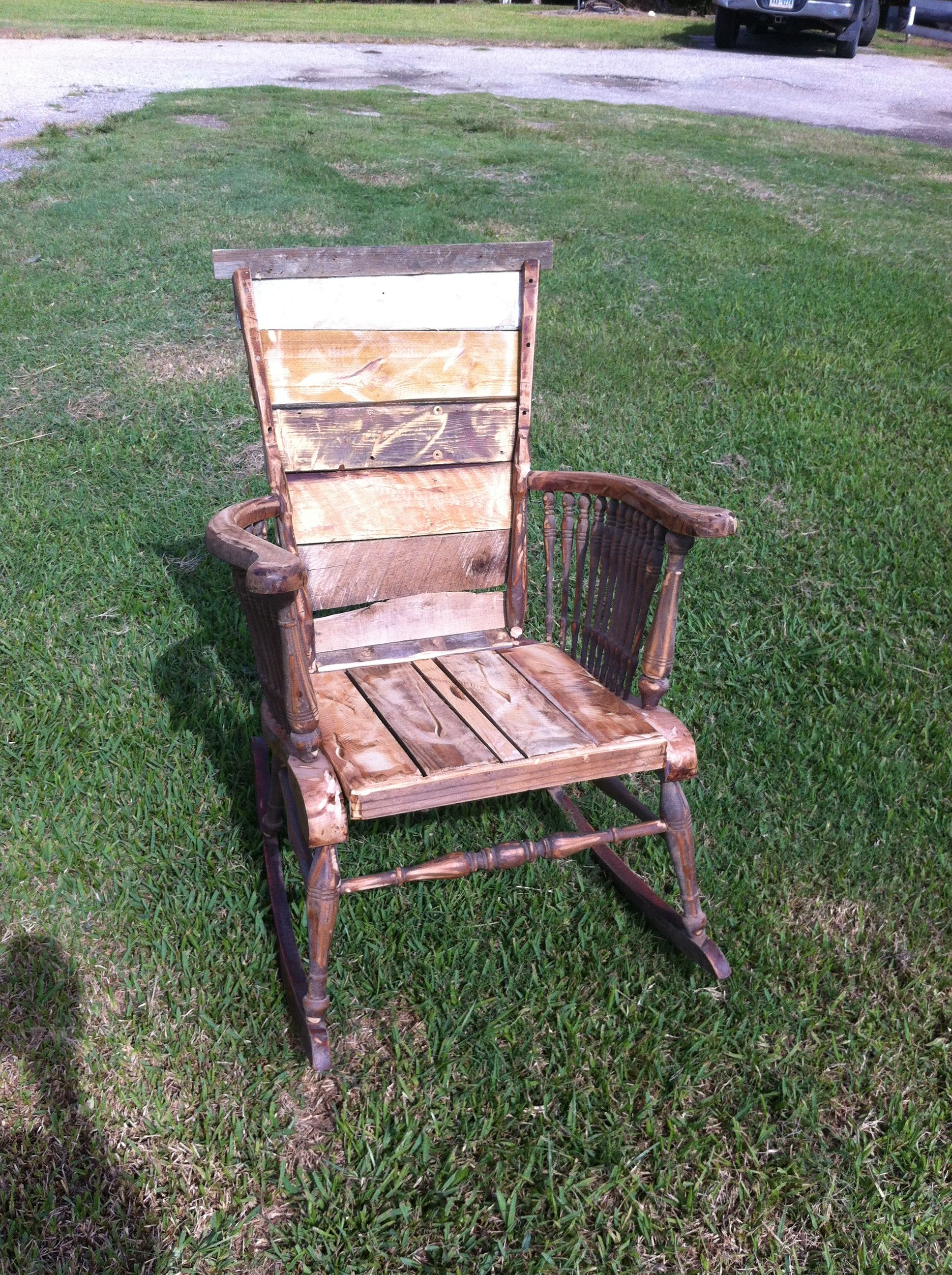 wood rocking chair parts saddle seat reclaimed repurposed barn by cowgirl
