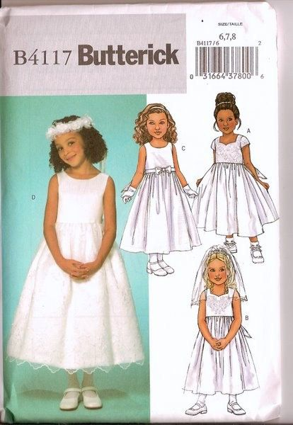 Sewing Pattern Butterick 4117 Flower Girl Dress Pattern Uncut Complete