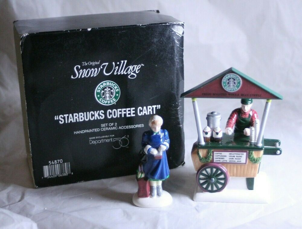 Department 56 Starbucks Coffee Cart 54870 Orginal Snow Village #department56