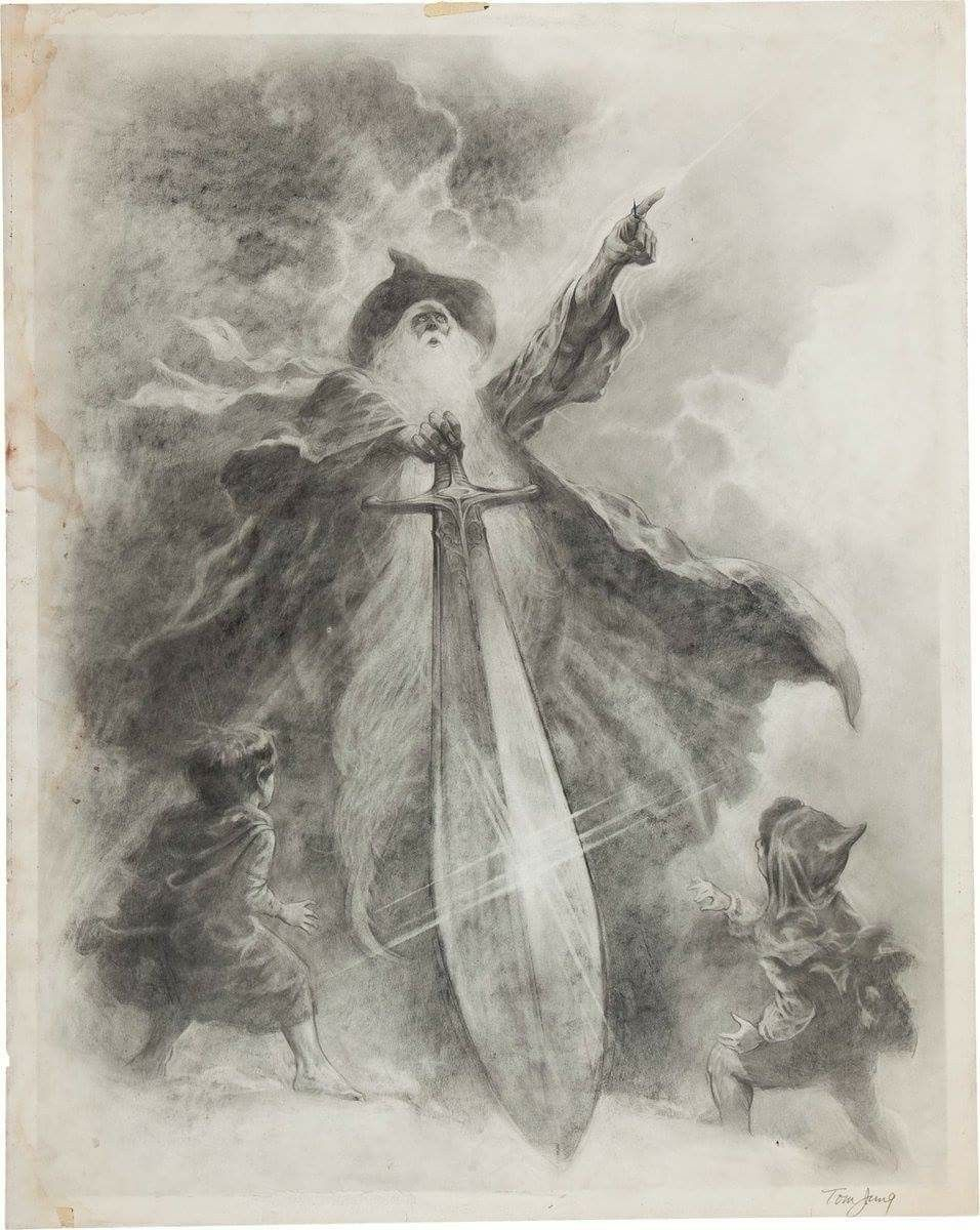 the original lord of the rings poster drawing by tom jung
