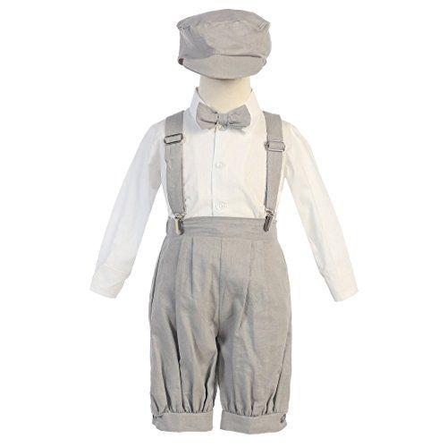 Chic Lito Baby Boys Light Gray Suspenders Short Pants Hat