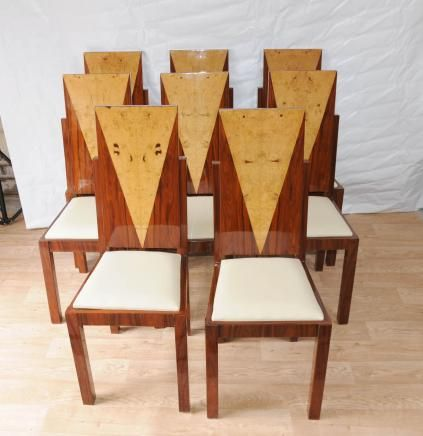 Great 8 Art Deco Dining Chairs Inlay Diners Furniture 1920s Vintage