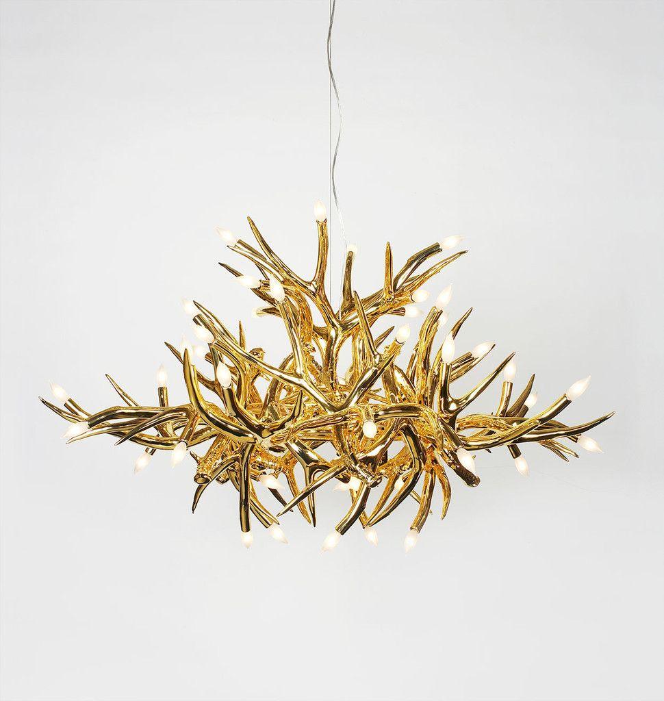 Superordinate Antler Chandelier - 24 Antlers (Gold). Designed by ...