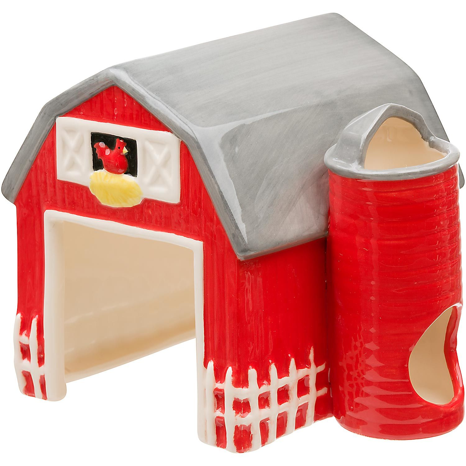 Petco Ceramic Red Barn Small Animal Hideaway Small Pets Pet Rodents Bird Toys